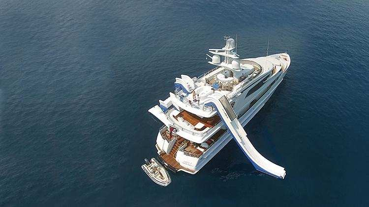 FunAir inflatable slide and climbing wall on superyacht