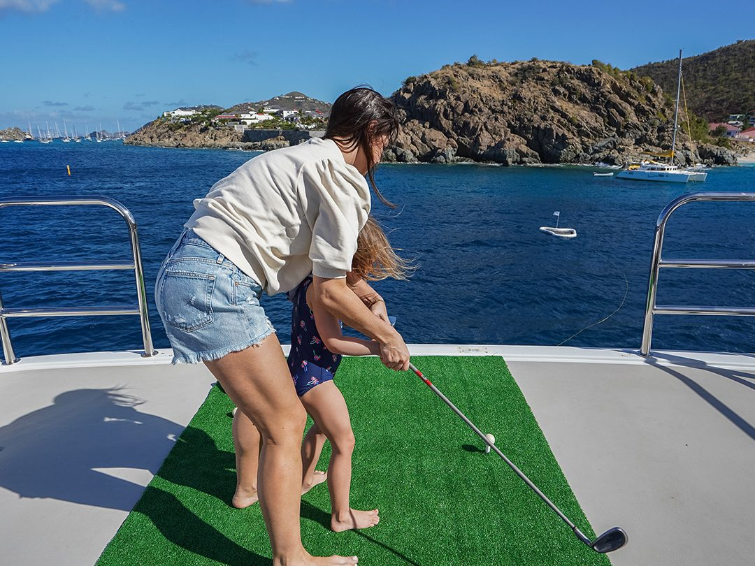 Playing yacht golf in the sea