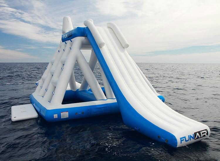 Inflatable floating playground in the sea