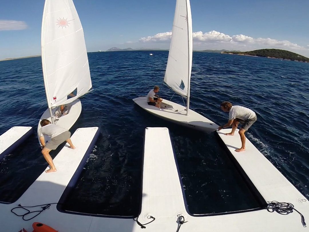 Superyacht sailing dinghies at inflatable dock