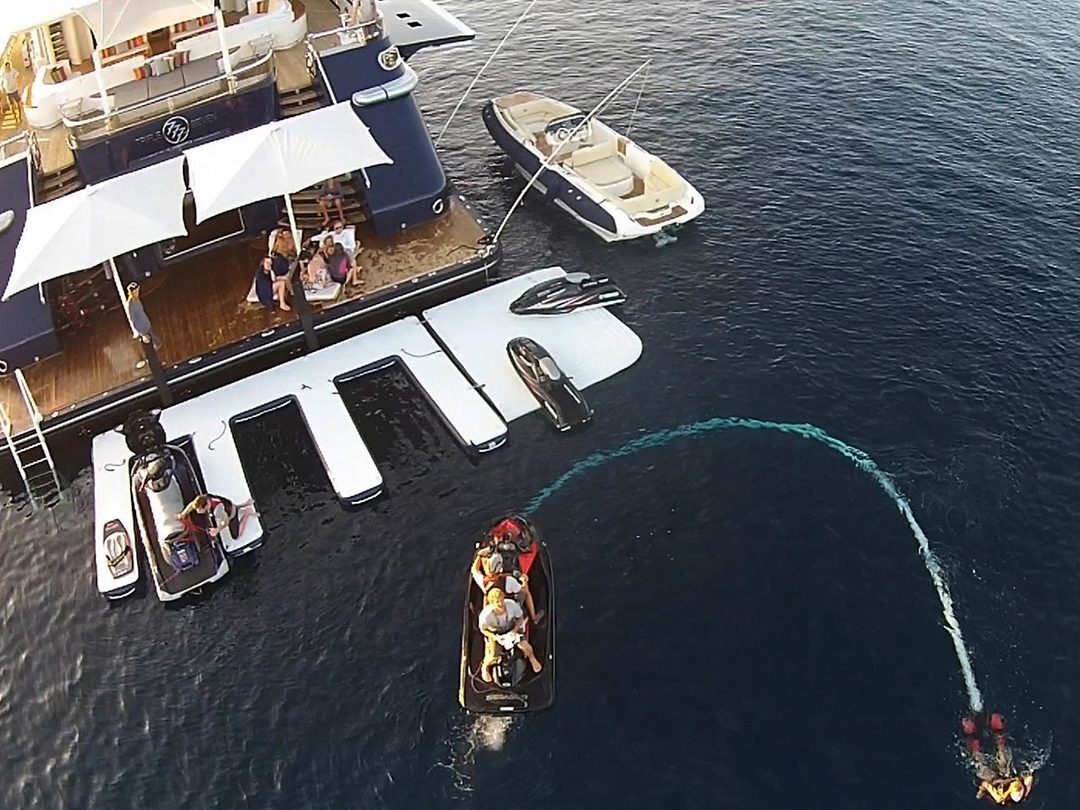 Superyacht personal watercraft inflatable dock