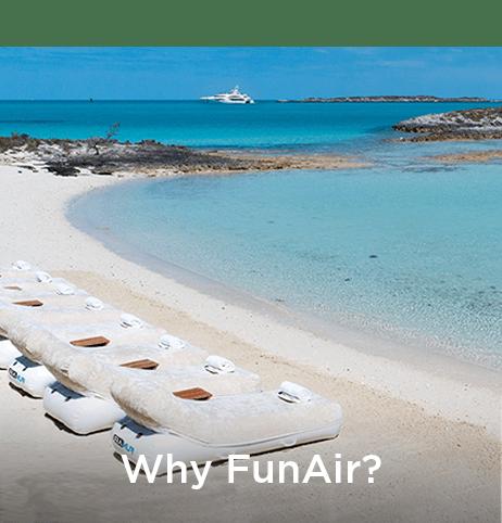FunAir loungers on a beach