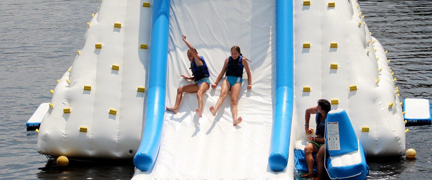 Floating inflatable climbing walls