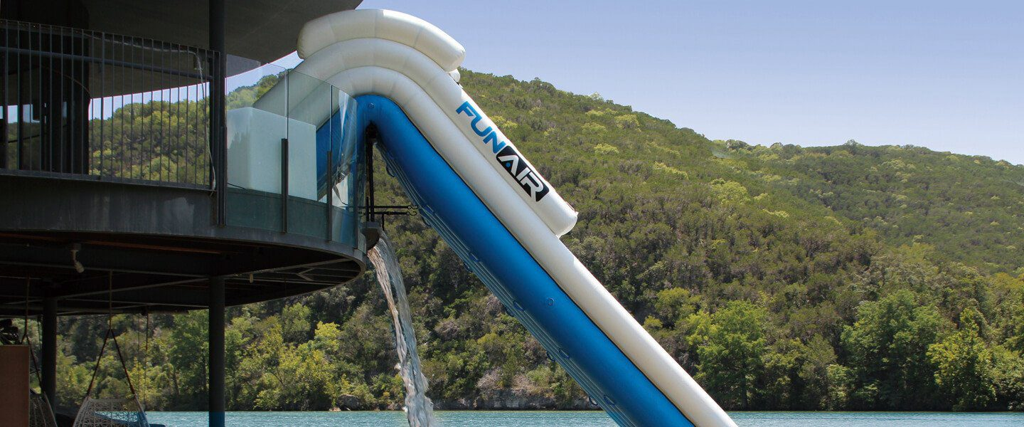 Two story boat dock inflatable slide