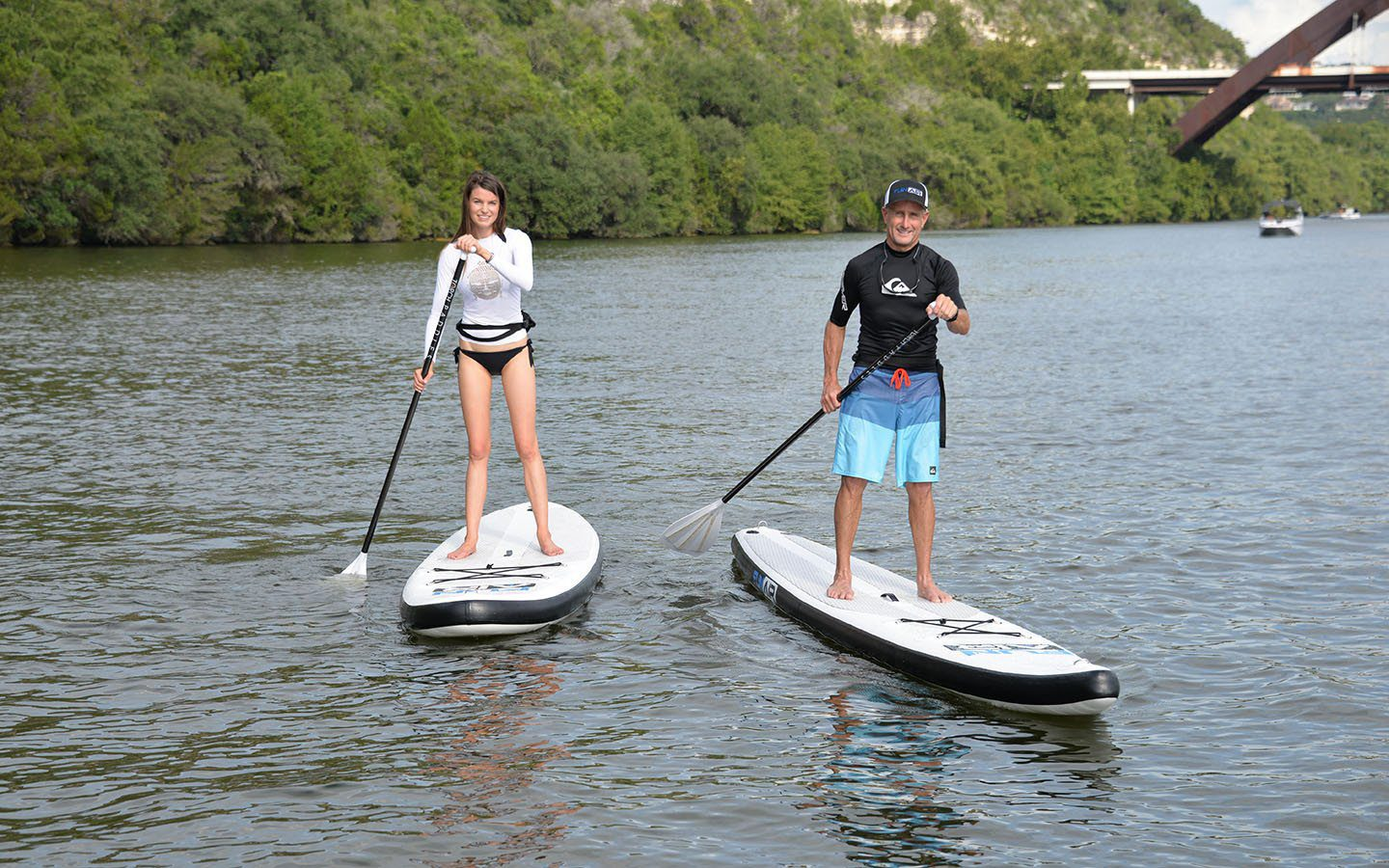 Inflatable SUP on a river