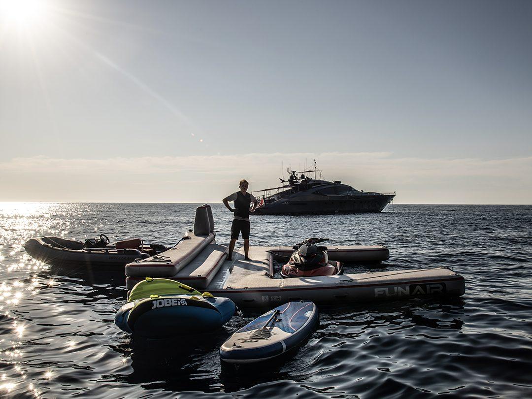 Using a custom Jet Ski Dock in the sea