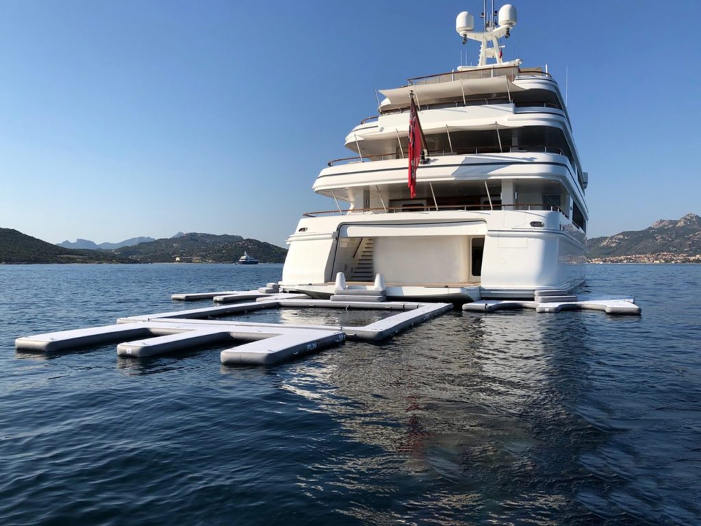 yacht super jet ski dock and pool