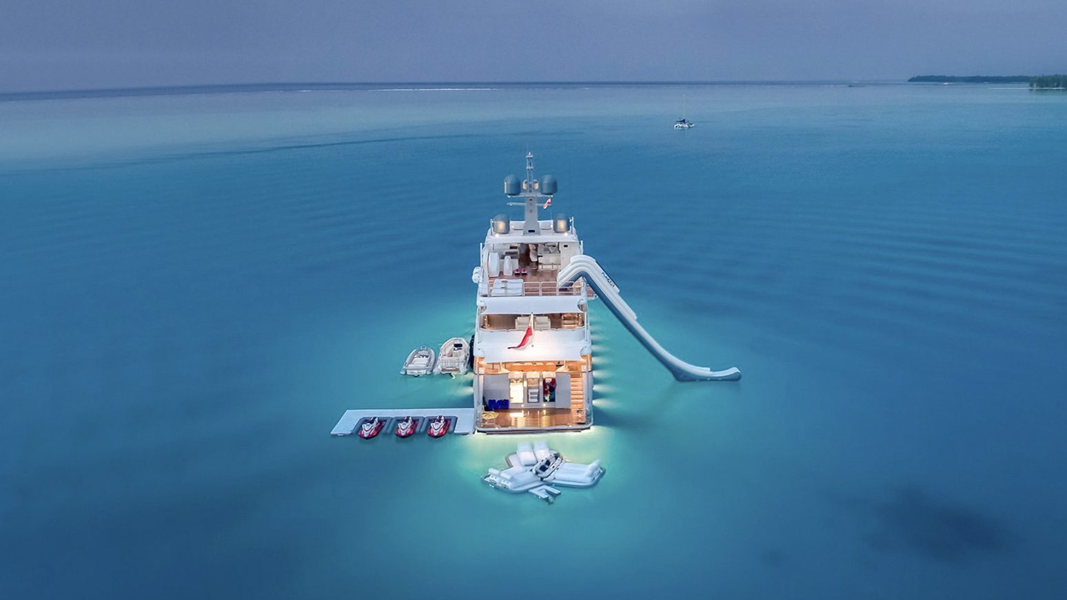 Yacht with Inflatable Floating Island