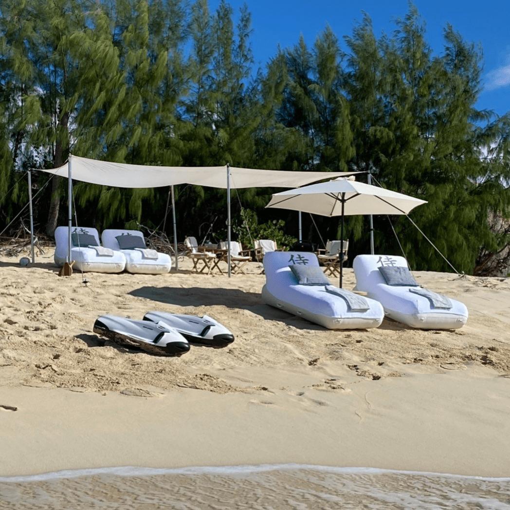 Beach Loungers on beach