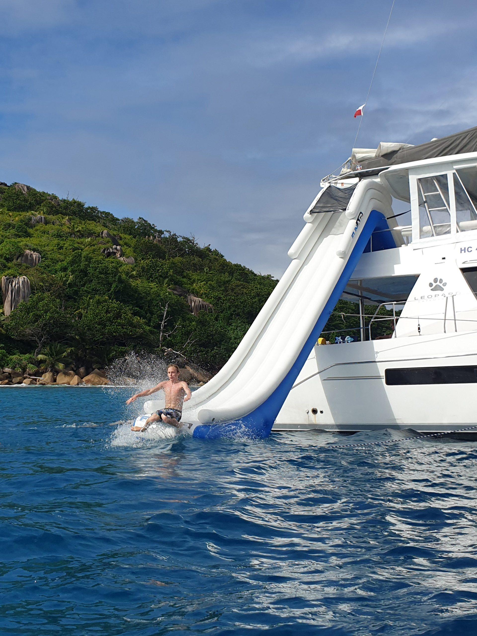Fun on a Yacht Slide