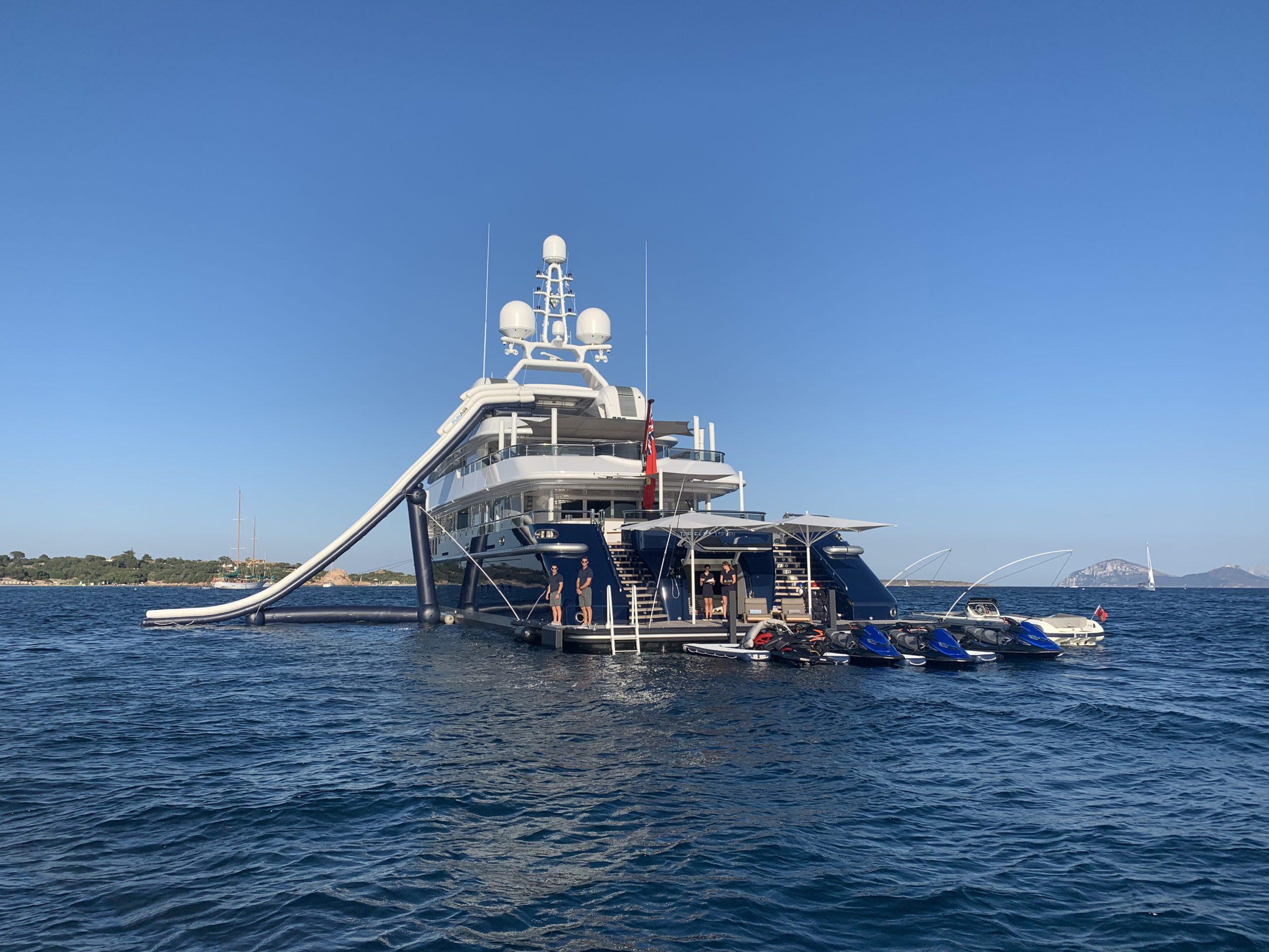superyacht with Yacht Slide and custom Jet Ski Dock