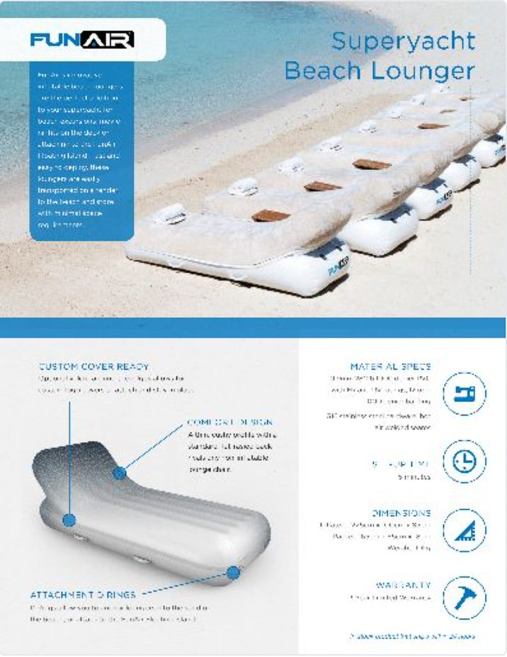 FunAir Beach Lounger Spec Sheet