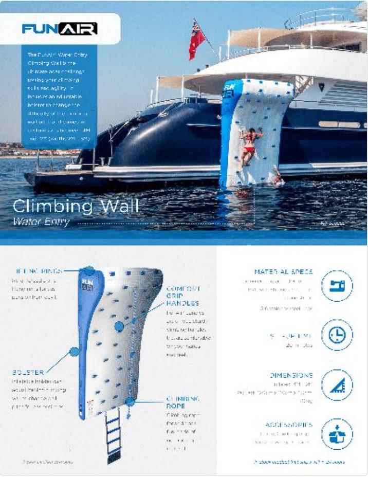 FunAir Climbing Wall Water Entry Spec Sheet