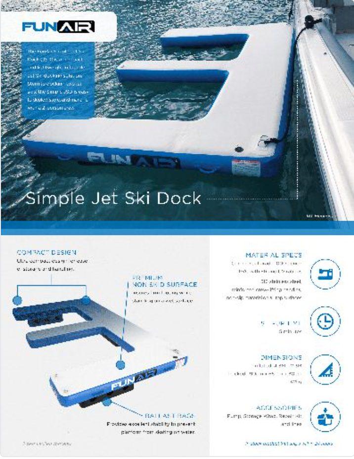 FunAir Simple Jet Ski Dock Spec Sheet