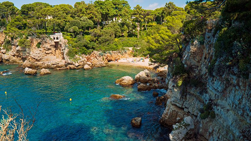 Scenic view of blue sea and beach in Cap D