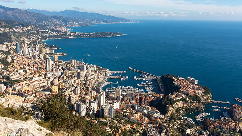 Scenic view of the superyacht marina and centre of Monaco in the South of France