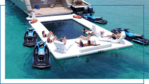 Beach Club Sea Pool and Wave Loungers on superyacht Loon