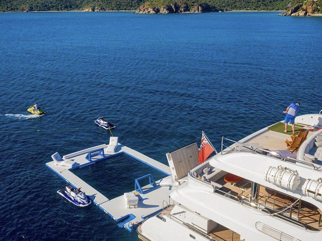 Beach Club Sea Pool on superyacht Milestone