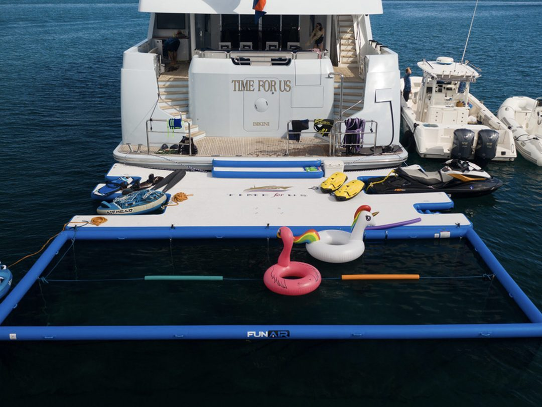 Netted Sea Pool and Custom Jet Ski Dock on Motor Yacht Time For Us