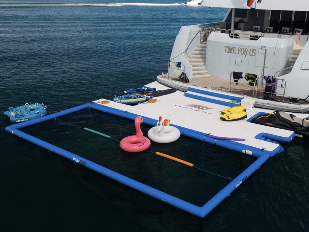Netted Sea Pool and Custom Jet Ski Dock on superyacht Time For Us