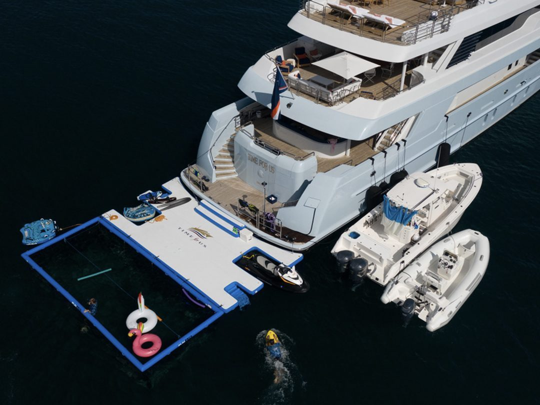 Custom Jet Ski Dock and Netted Sea Pool on superyacht Time For Us