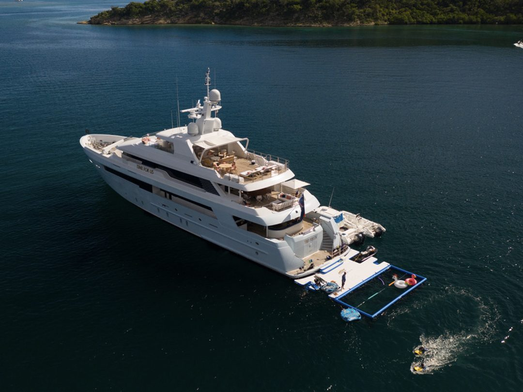 Overhead view of Netted Sea Pool and Custom Jet Ski Dock on Motor Yacht Time For Us