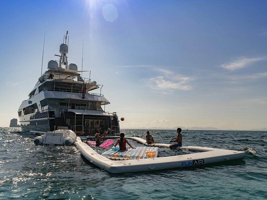 Beach Club Sea Pool on superyacht Lady Azul