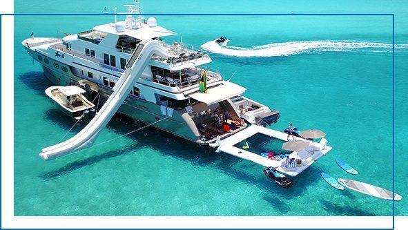 Custom Beach Club Sea Pool and Yacht Slide on MY Loon