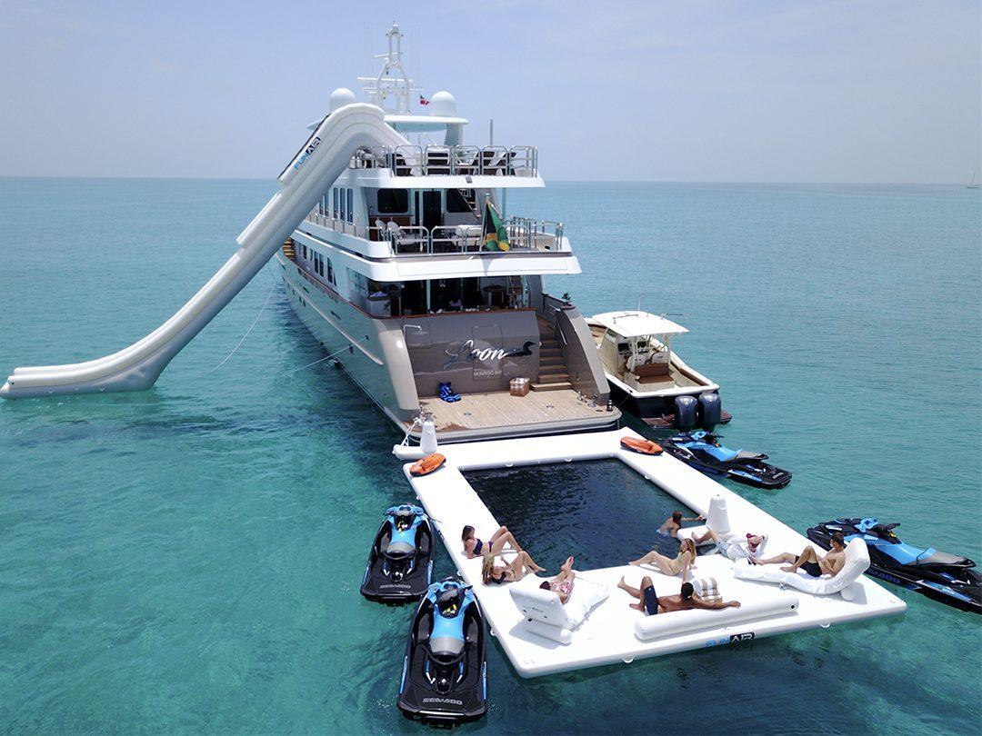 Yacht Slide, Beach Club Sea Pool and Superyacht Wave Loungers on luxury yacht MY Loon