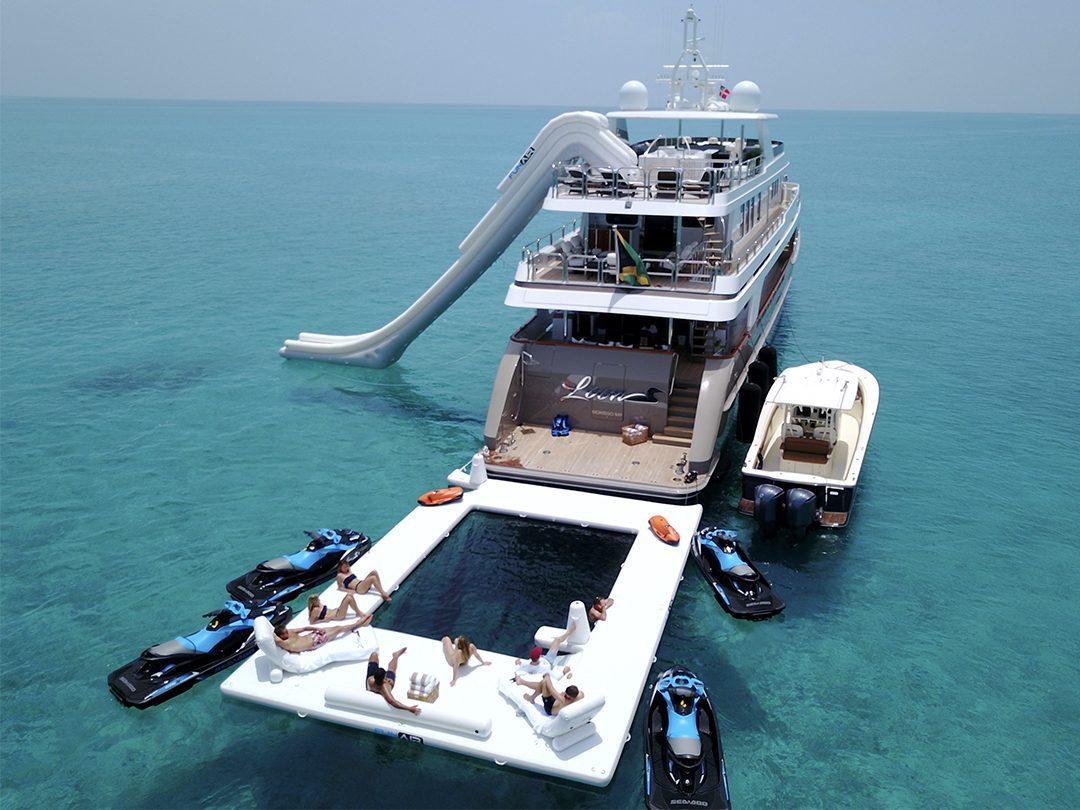 Yacht Slide, Superyacht Wave Loungers and custom Beach Club Sea Pool on luxury yacht Loon