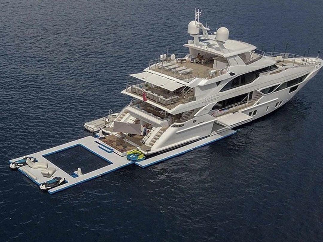 Custom Beach Club Sea Pool on luxury yacht