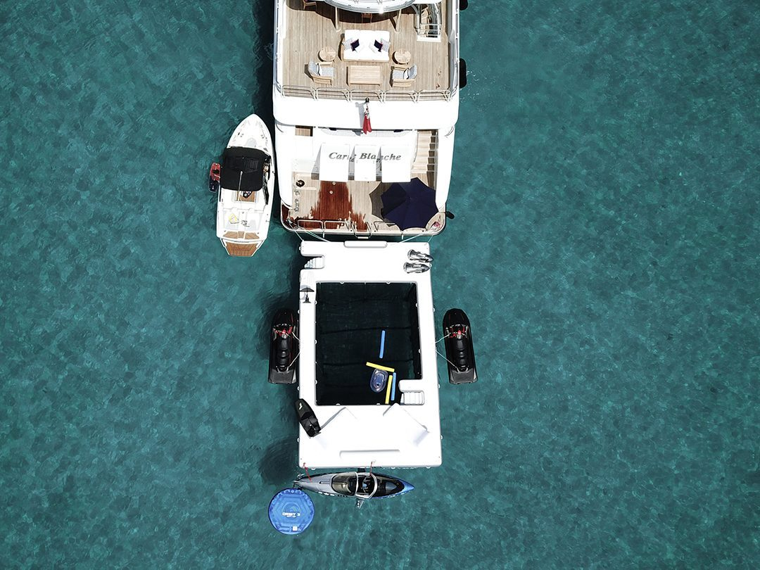 Motor Yacht Carte Blanche, Sea Pool and Superyacht Wave Loungers from above