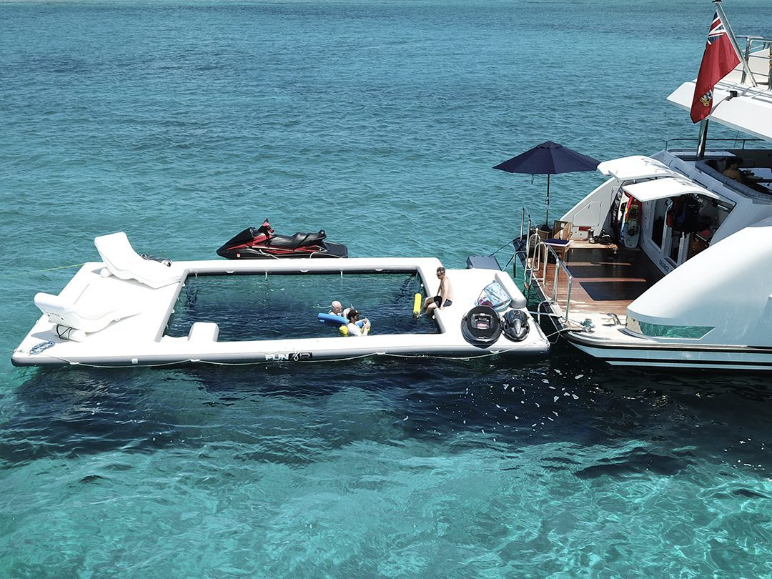 Motor Yacht Carte Blanche, Sea Pool and Superyacht Wave Loungers