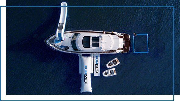 QuickShip Sea Pool, Yacht Slide, Water Mat and BigAir Blob on yacht